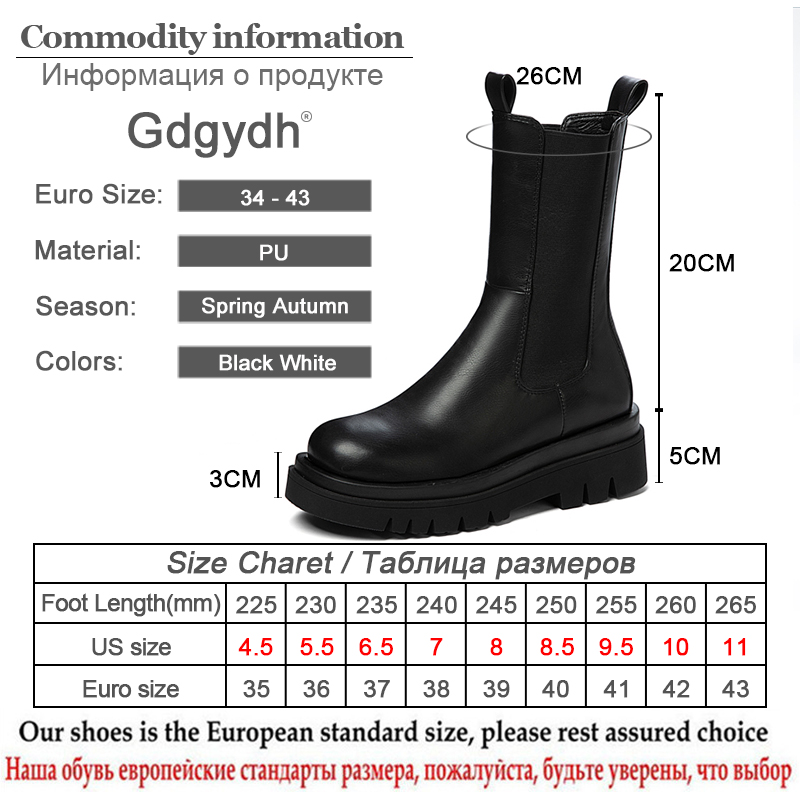 Gdgydh 2020 Autumn New Arrivals Women Boots Slip-on Black And White Female Short Boots Squar High Heels Mid-caft Boots Drop Ship