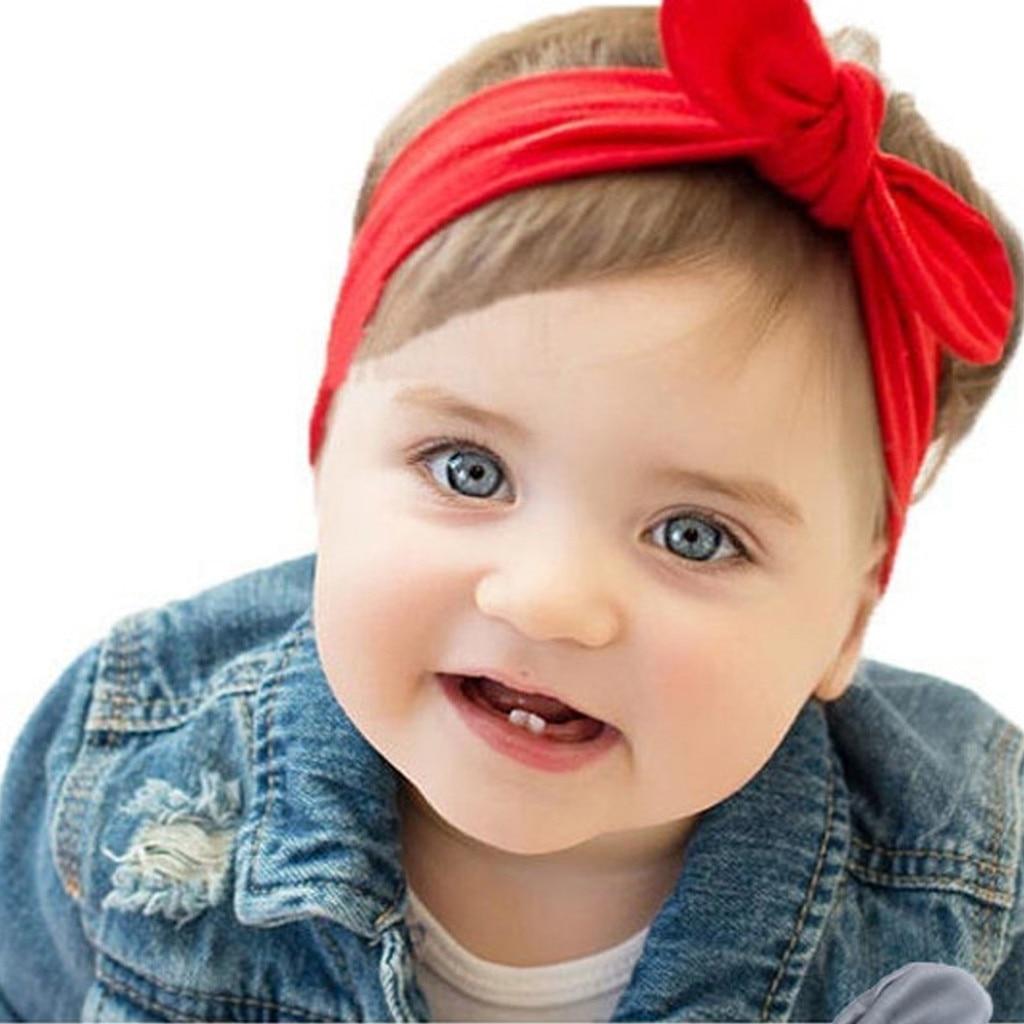 cute Baby Accessories Kid Girl Baby Broad Headband ToddlerBaby rabbit ear bow headband Hair Band Solid Photo Props
