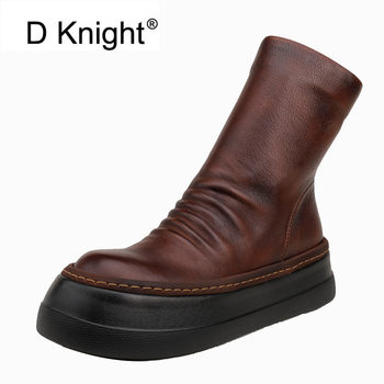 D Knight Punk Ankle Boots Chelsea Women Genuine Cow Leather Platform Bootie Autumn Winter Black Ladies Shoes Handmade Short Boot