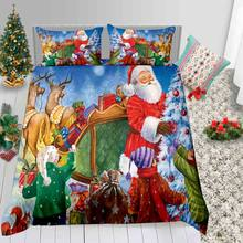 Thumbedding Santa Print Bedding Set For Kids Send Gifts Cartoon Duvet Cover Christmas King Queen Full Twin Single Bed Set(China)
