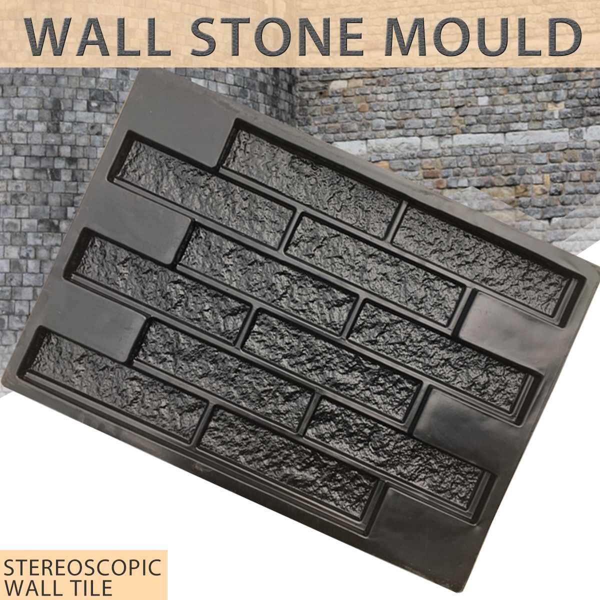 Plastic Molds Decorative-Mold Cement-Tiles Old-Brick Wall-Stone Garden-House Concrete title=