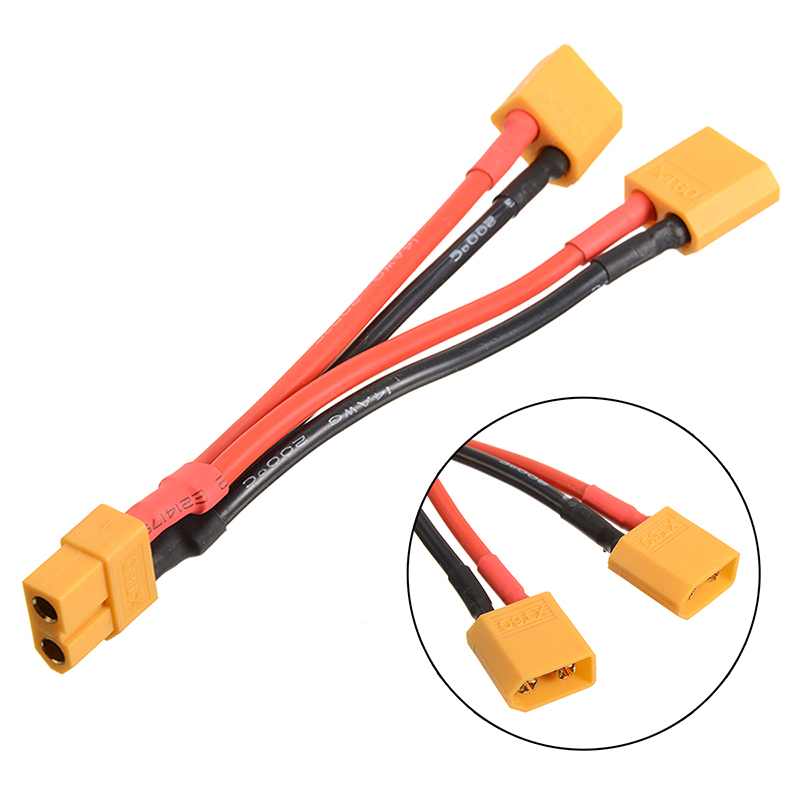 2x 30cm 14AWG xt60 Connectors Extension Cables Lines for RC Car Boat Battery