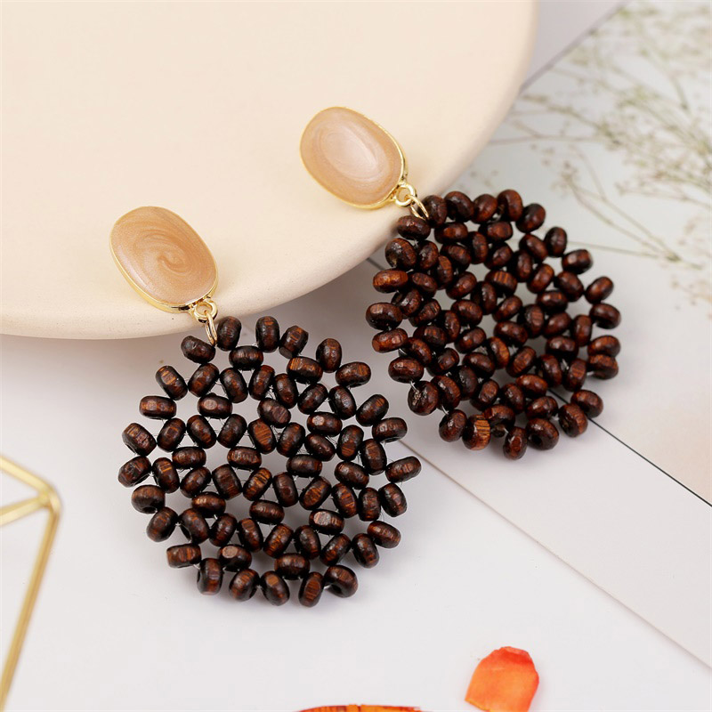 19 Fashion Boho Round Square Geometric Wooden Drop Earrings For Women Bohemian Vintage Wood Beaded Dangle Earring Jewelry Gift 16