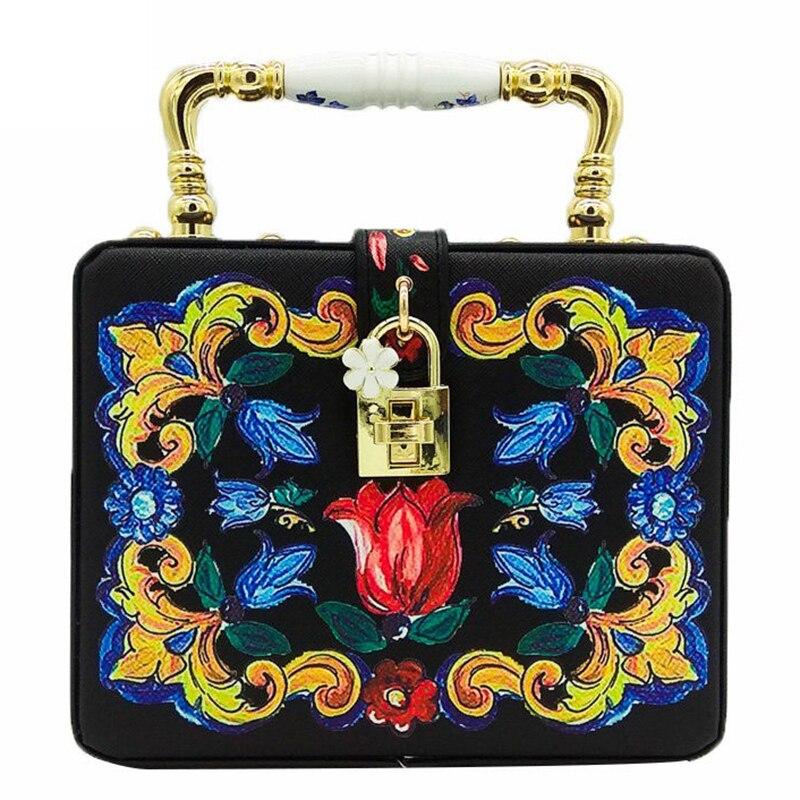 Bags for Women Ceramics Top Handbag Women Flower Tote Bag Box Clutch Shoulder and Crossbody Handbags Evening Cocktail Party Bag