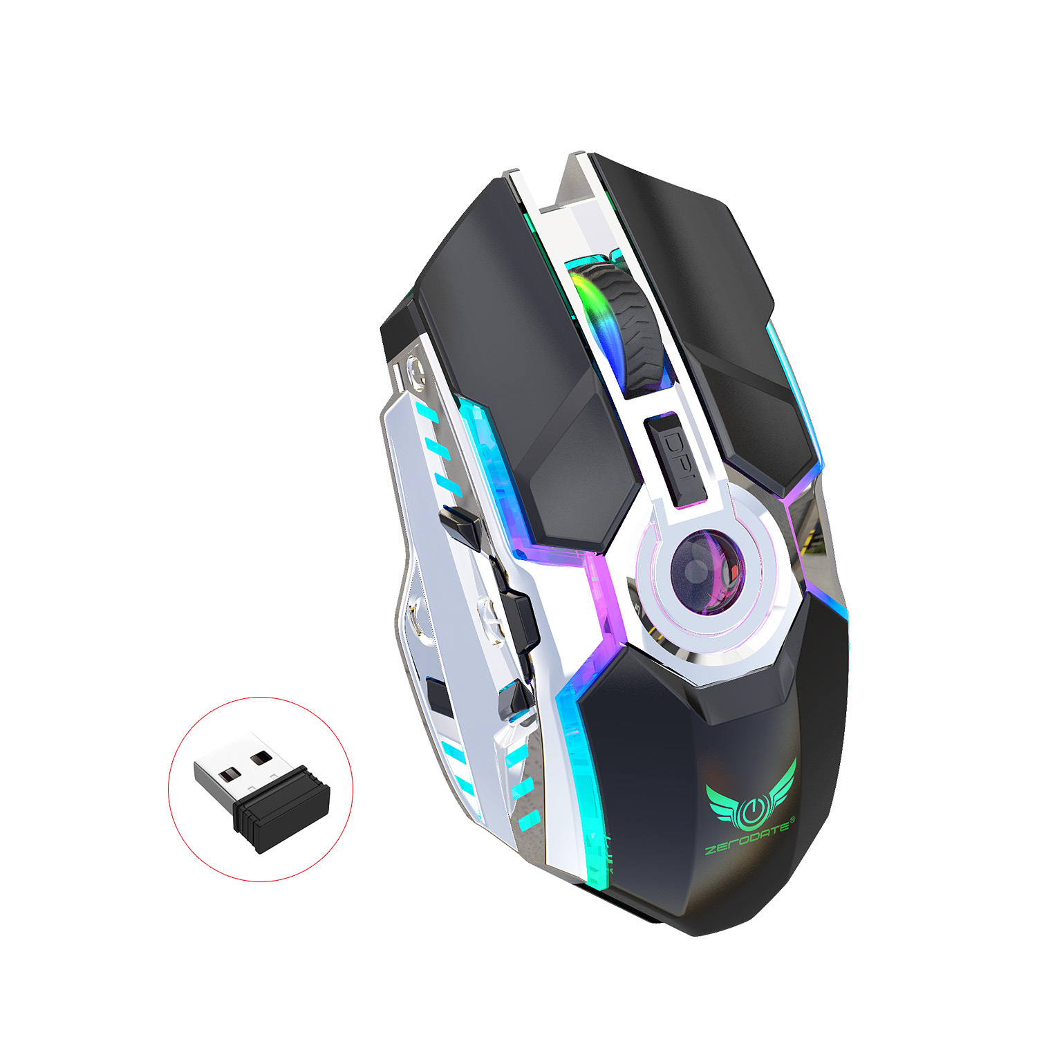 HBBOOI Optical Magnetic RGB Mouse Wired Colorful 1600 DPI Adjustable Non-Slip Side Ergonomic Mouse for PC Computer Laptop Notebook