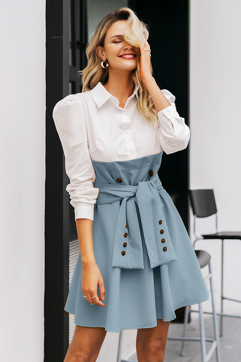 Simplee Patchwork puff sleeve shirt dress women Elegant button sash belt office ladies dresses Autumn ladies khaki work dress 11