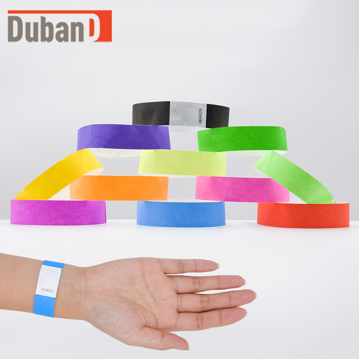 """50 Custom Printed Gold 1/"""" Tyvek Paper Wristbands for Events,Festivals,Parties"""