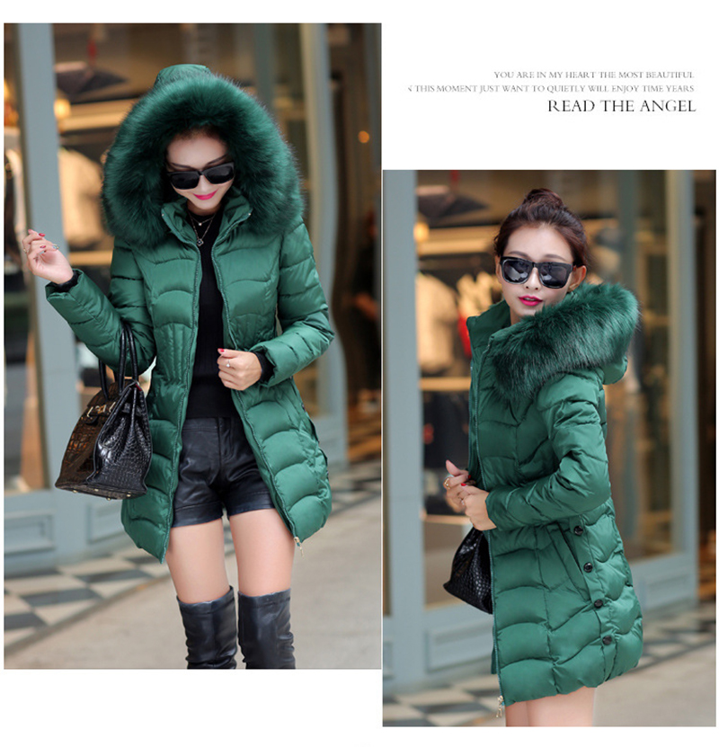 Winter Long Women Coats Parkas Slim Pleated Black Female Coat Outwear Fashion Disassembled Hooded Cotton Women Jackets MLD1271 17