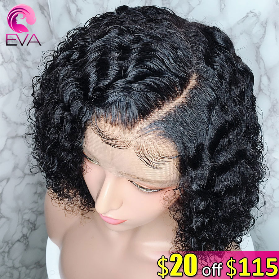 Human-Hair Wigs Curly Full-Lace with Short Bob Brazilian for Black-Women Eva Pre-Plucked title=