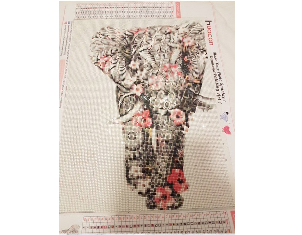 Lazinem DIY Elephant-Pattern Rhinestone Painting Home Living Room Decor Cross-Stitch