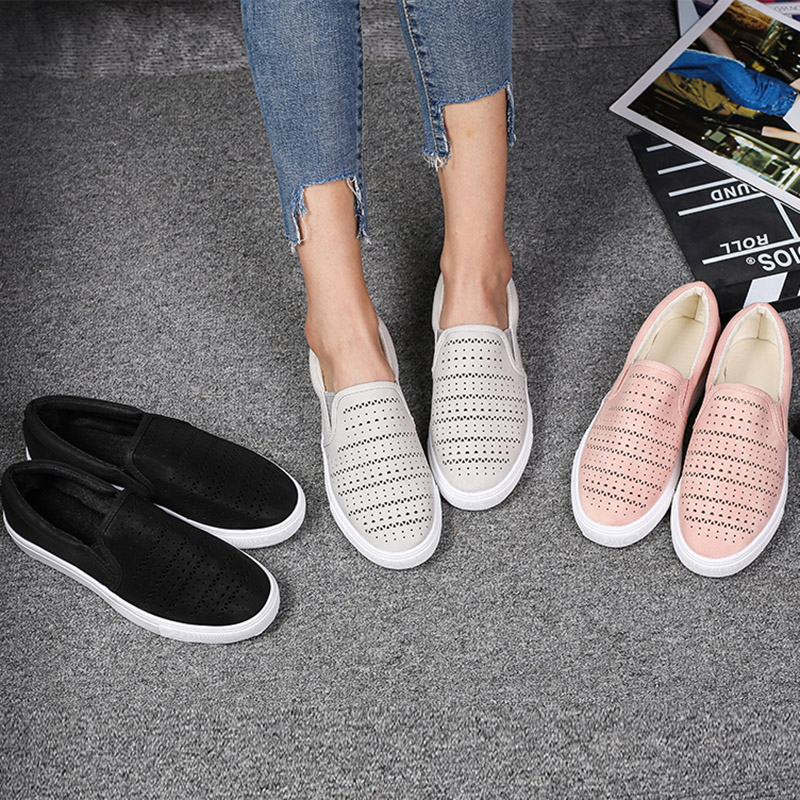 Flat Shoe Platform Woman Sneaker Women Loafers Slip-On Big-Size 35-43 Hollow Cotton Casual