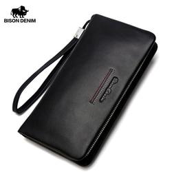 Мужской клатч из натуральной кожи BISON DENIM, черный длинный бумажник из воловьей кожи, держатель для карт, деловой кошелек для мужчин