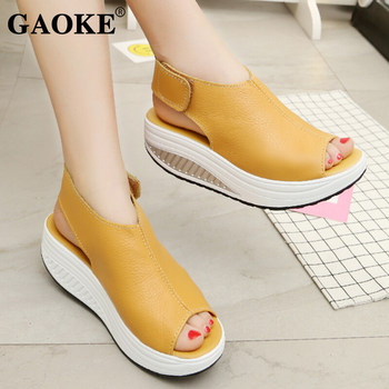 5 Styles Summer Women Sandals Platform Wedges Sandals Leather Swing Peep Toe Casual Shoes Women Walk Shoes Flats Size 35-43