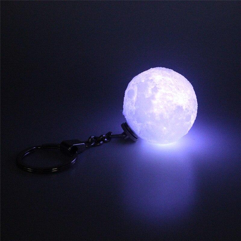 3pcs/lot LED Moon Lamp Keychain Creative 3D Moon Light Night Lamp Bag Car Belt Bag Bedroom Hanging Decoration Kids Gifts Toys