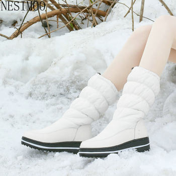 NESIMOO 2021 Casual Round Toe Winter Snow Boots Down PU Leather Women Shoes Wedge Heel Keep Warm Mid Calf Boots Big Size 35-43