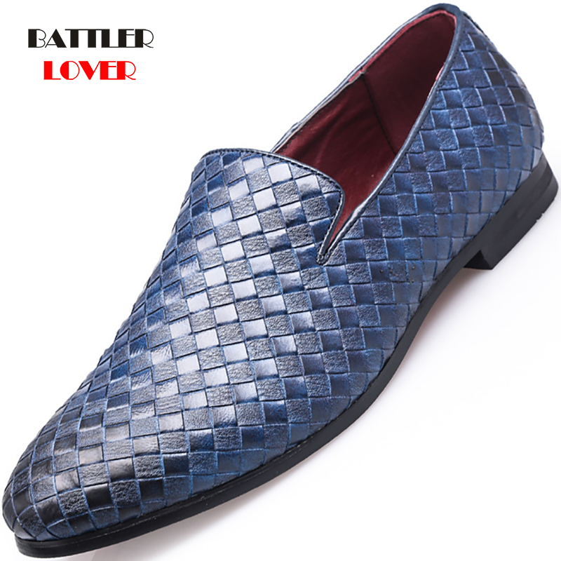 2019 Mens Casual Shoes Breathable Weave Leather Loafers Office Shoes For Men Driving Moccasins Comfortable Slip on Fashion Shoes