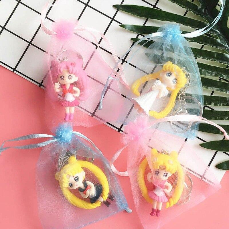 Sailor Moon Keychains Cute Cartoon Anime Sailor Moon Figure Keyrings for Kids Girl Lady Women Birthday Gift Backpack