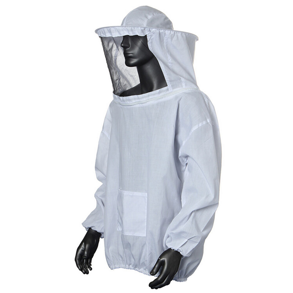 1PC Practical White Protective Beekeeping Jacket Veil Dress With Hat Equip Suit Smock garden accessories