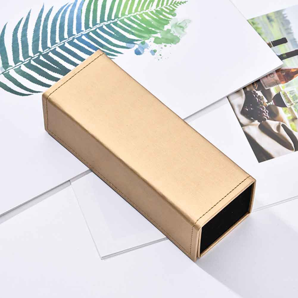 Originaltree Cuboid Waterproof Magnetic Faux Leather Glasses Box Spectacle Case Container Black