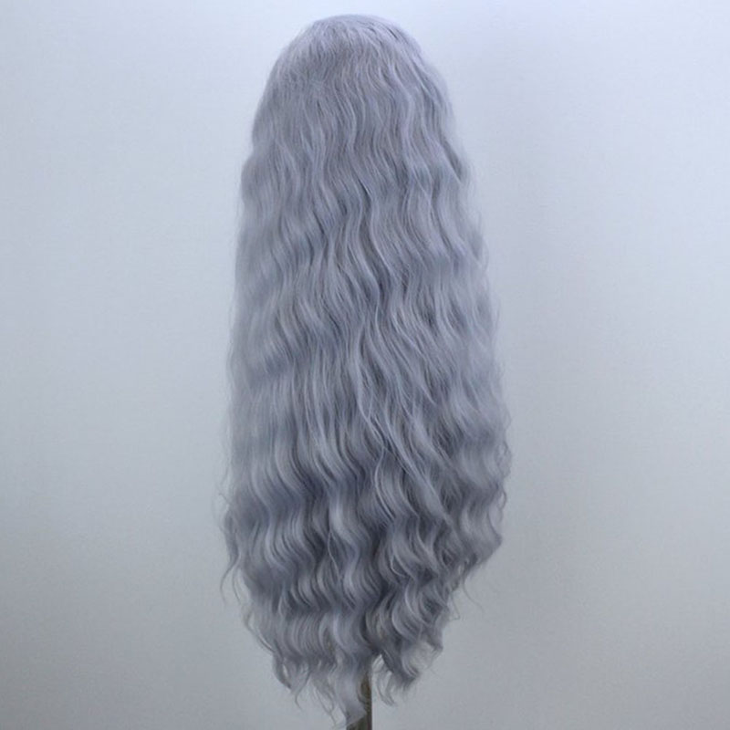 QUINLUX WIGS Gray Long Water Wave Wig Glueless Heat Resistant Fiber Hair Synthetic Lace Front Wigs for Women Loose Wave Wig