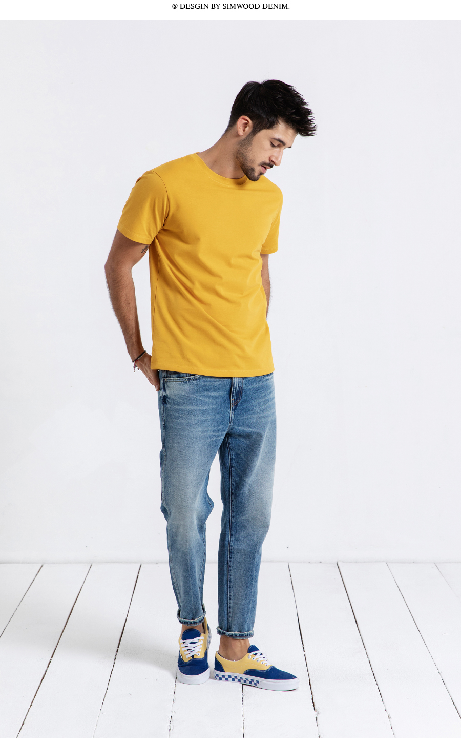 SIMWOOD 19 Summer New T-Shirt Men 100% Cotton Solid Color Casual t shirt Basics O-neck High Quality Plus Size Male Tee 190004 13