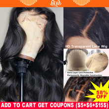 Wig 13x6 Lace-Wig Human-Hair Fake Scalp Bleached Knots Body-Wave Transparent Remy-Preplucked