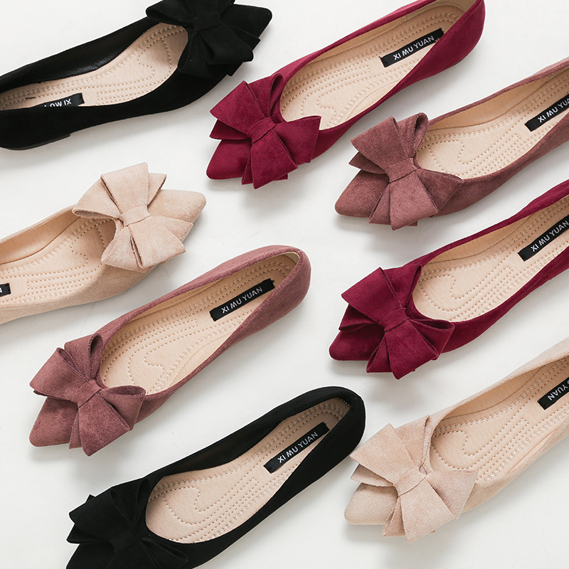Flats-Shoes Bow Spring Slip-On Ballerina Pointed-Toe Butterfly-Knot Foldable Large-Size