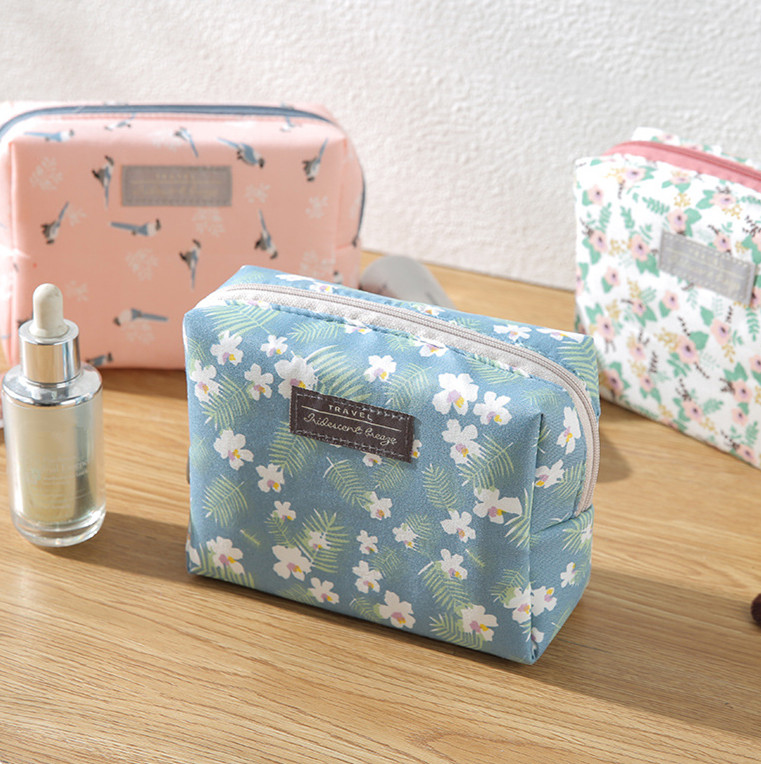 Organizer Purse Cosmetic-Bag Makeup-Pouch Toiletry Floral Travel Sweet Mini Portable title=
