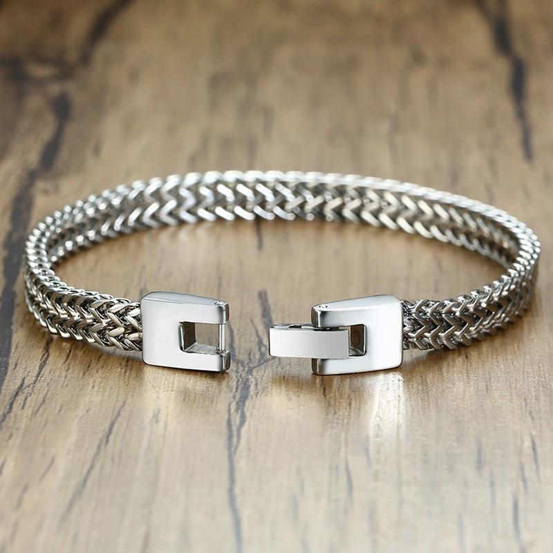 "Stainless Steel  8.26/""5mm Bracelet Men Women Silver Rope Chain Link Jewelry Cool"
