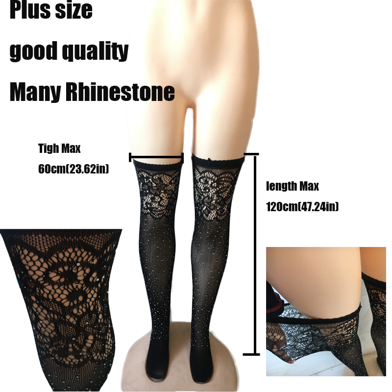 Sexy Stockings Rhinestone Thigh High Stockings Carnival Tights Fishnet Women Over Knee Femal Stockings Hosiery Plus Size SW119