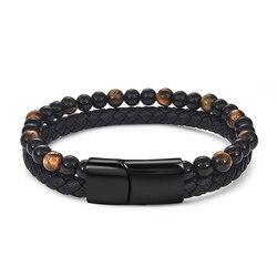 Jiayiqi 6 мм Натуральный камень Для мужчин браслет из черной натуральной кожи магнитный браслет с пряжкой 18,5/20,5/22 см мужской ювелирные изделия
