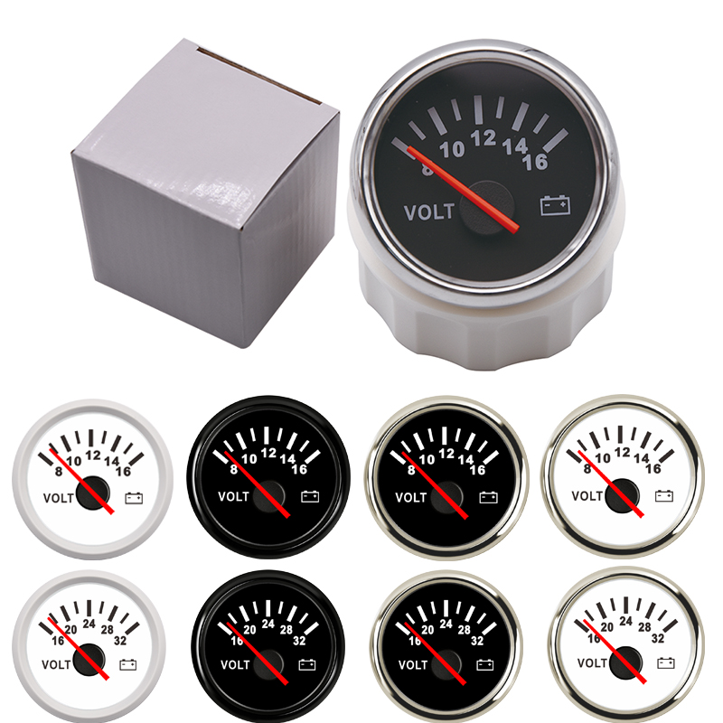 "52mm 2/"" Voltmeter Voltage Volt Meter Gauge 8~16V Black Face for Boat Marine"