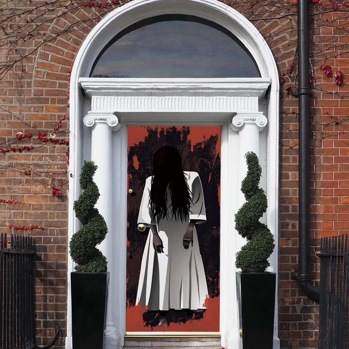 Female Ghost Creative 3d Door Sticker Halloween Horror Scary Door Sticker  Holiday Party Team Home Decor Wall Sticker