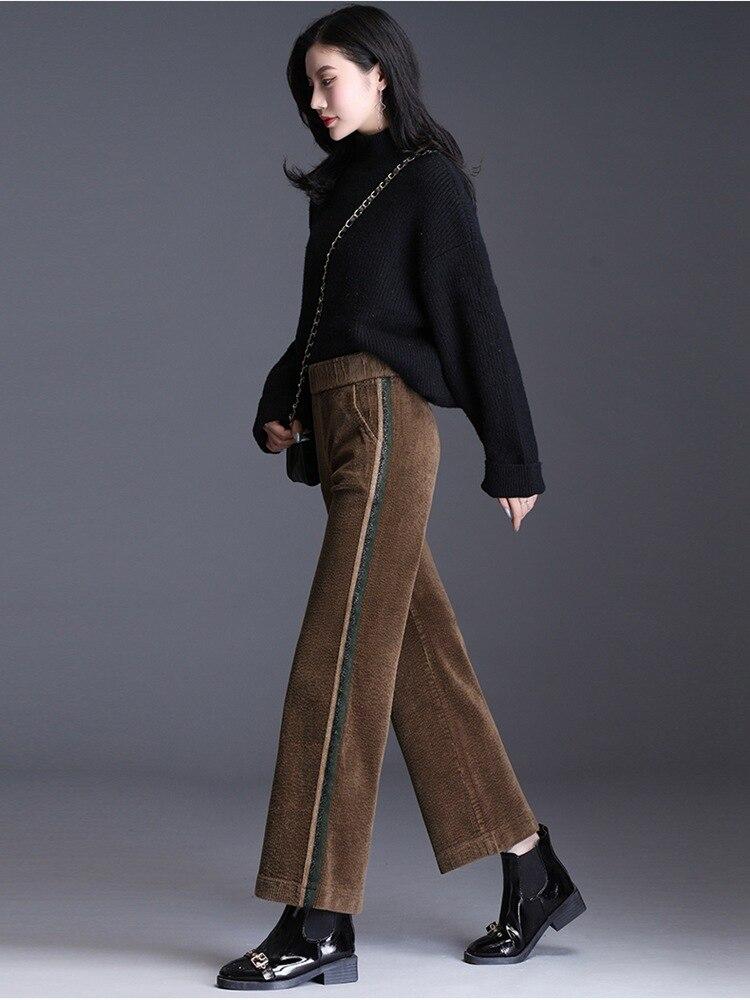 Corduroy pants high waist straight tube wide leg loose winter velvet versatile casual velvet drape pants JN967
