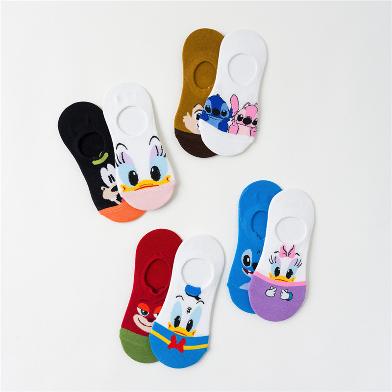 1 Pairs New Invisible Socks Women Harajulu Cartoon Cute  Boat Socks Slippers Shallow Mouth Thin Cotton Casual Style Summer