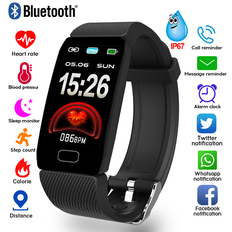 Bracelet Waterproof Monitor Fitness-Tracker Smart-Band Weather-Display Blood-Pressure-Heart-Rate title=