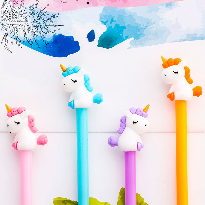 Stationery Unicorn-Gel-Pen Office-Supply Gift Black School Kawaii-Color Cute Hot 1pcs title=