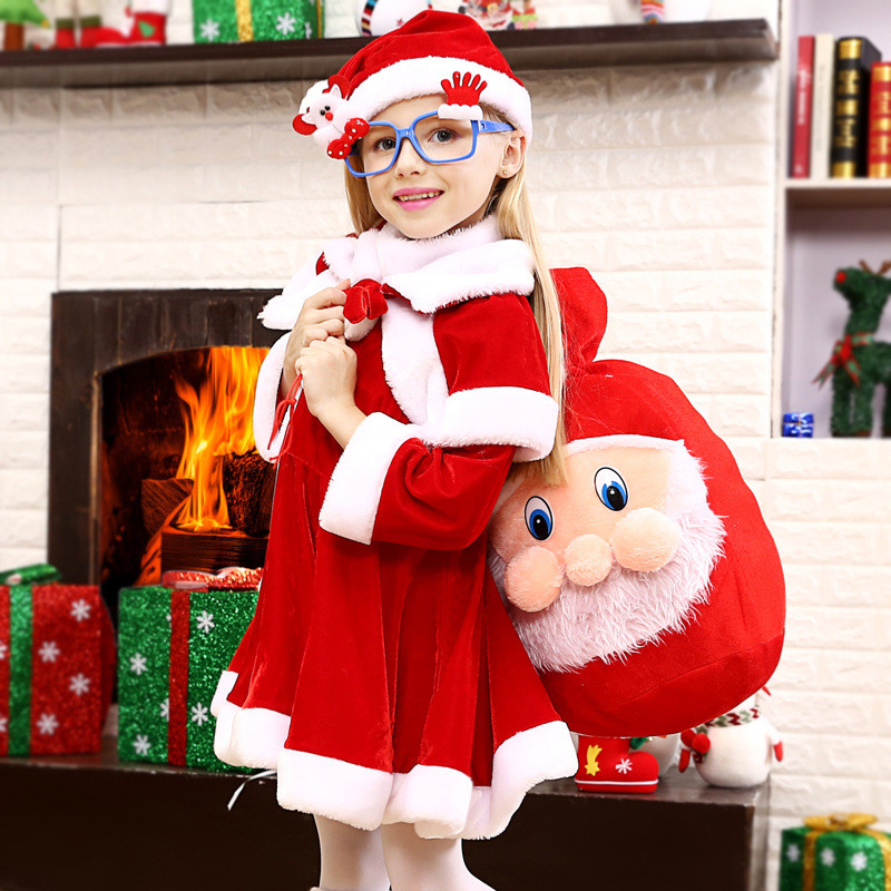 Hot Children/'s Christmas Cosplay Clothes Set Kids Show Stage Clothing sets Baby Girls Cute Santa Claus Gift Bag Costume 4-8yares