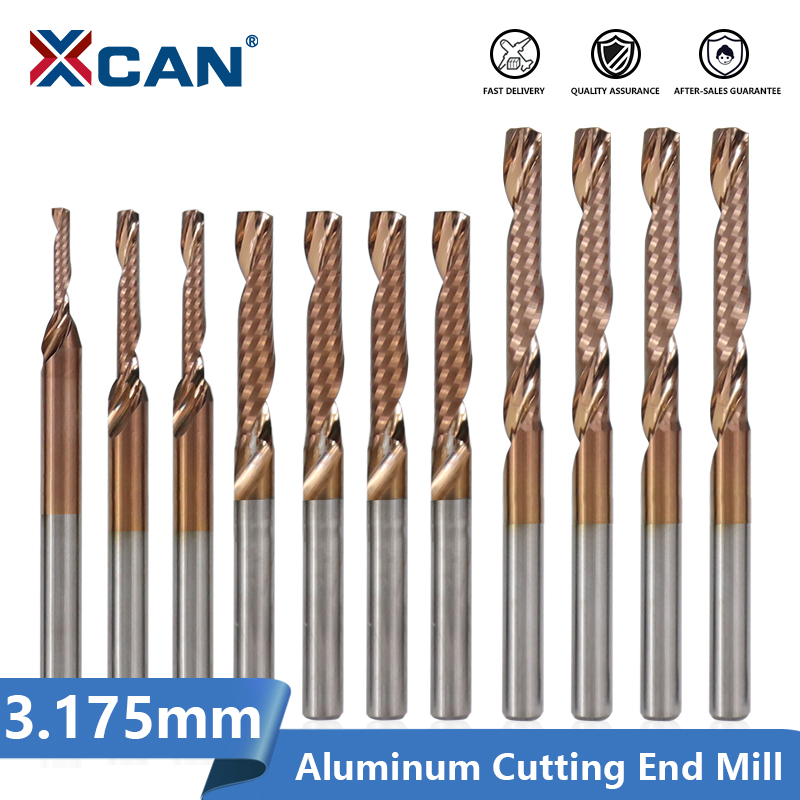 XCAN 1/8'' Shank 1 Flute End Mill TiCN Coating Spiral Milling Cutter For Aluminum Copper Cutting Carbide CNC Router Bit