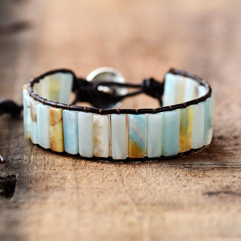 Designer Handmade Boho Natural Tube Shape Amazonite Semi Precious Stone  Beaded Genuine Leather Wrap Cuff Bracelet – LOKALOSA