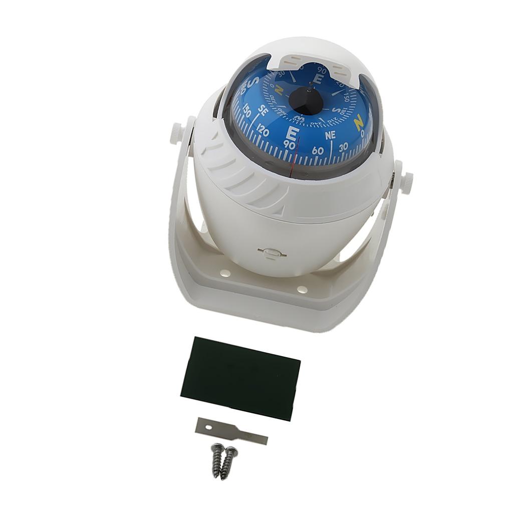 Marine Compass LED Lights Illuminated Light Up Electronic Digital Navigation Ball Compass for Boat Caravan Truck, White