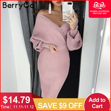 Berrygo Sweater Dress Batwing-Sleeve Sexy v-Neck Bodycon Midi Two-Piece Elegant Women