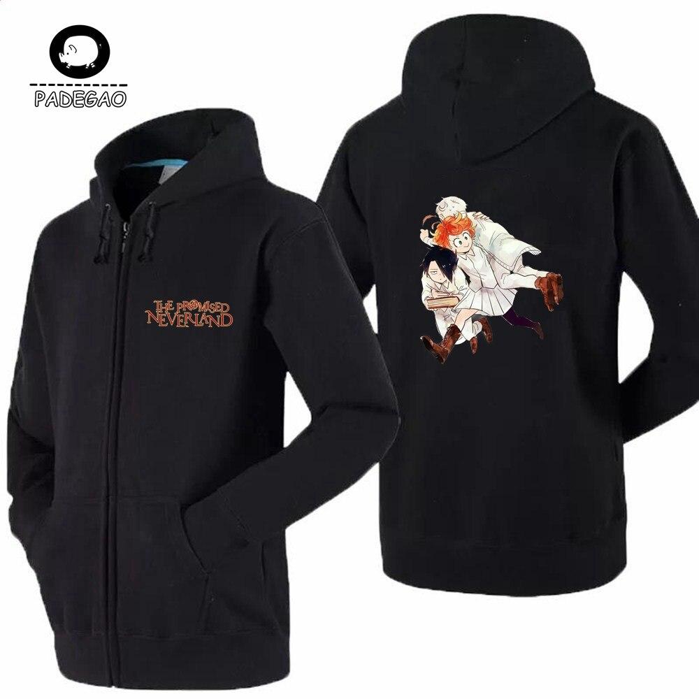 Anime The Promised Neverland Hoodies Sweatshirts Men women Long Sleeve Black Hoodies Coat