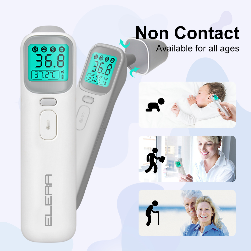 ELERA Baby Thermometer Infrared Digital LCD Body Measurement Forehead Ear Non-Contact Adult Fever IR Children Termometro