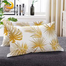 BeddingOutlet Golden Leaves Down Alternative Bed Pillow Black White Tropical Leaf Plant Bedding 1pc Decorative Sleeping Pillows(China)