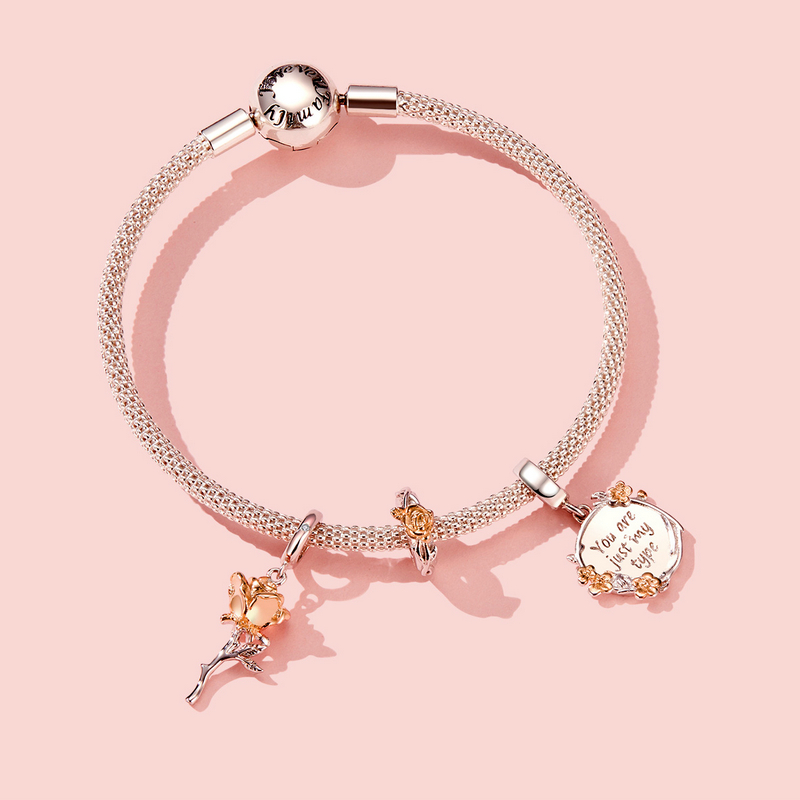 Bamoer Charm Necklace Rose-Flower-Pendant Bracelet Or Rose-Gold-Color DIY 925-Sterling-Silver title=