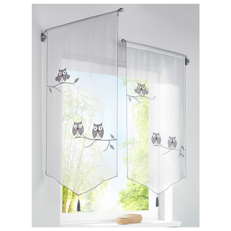 Short Curtains Roman Blinds Sheer-Tassel Kitchen Owl-Pattern Window White 1PC for The title=