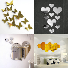 1 Set Gold Silver 3d Butterfly Mirror Wall Sticker Heart Round Wall Decal for DIY Kids Room Home Decoration Party Wedding Decor(Китай)