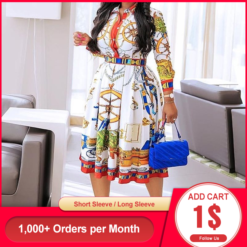 Spring Summer Lapel Mid-Calf High Waist Dress Big Plus Size Geometric Printed Elegant Office Ladies Tunic Pleated Midi Dress
