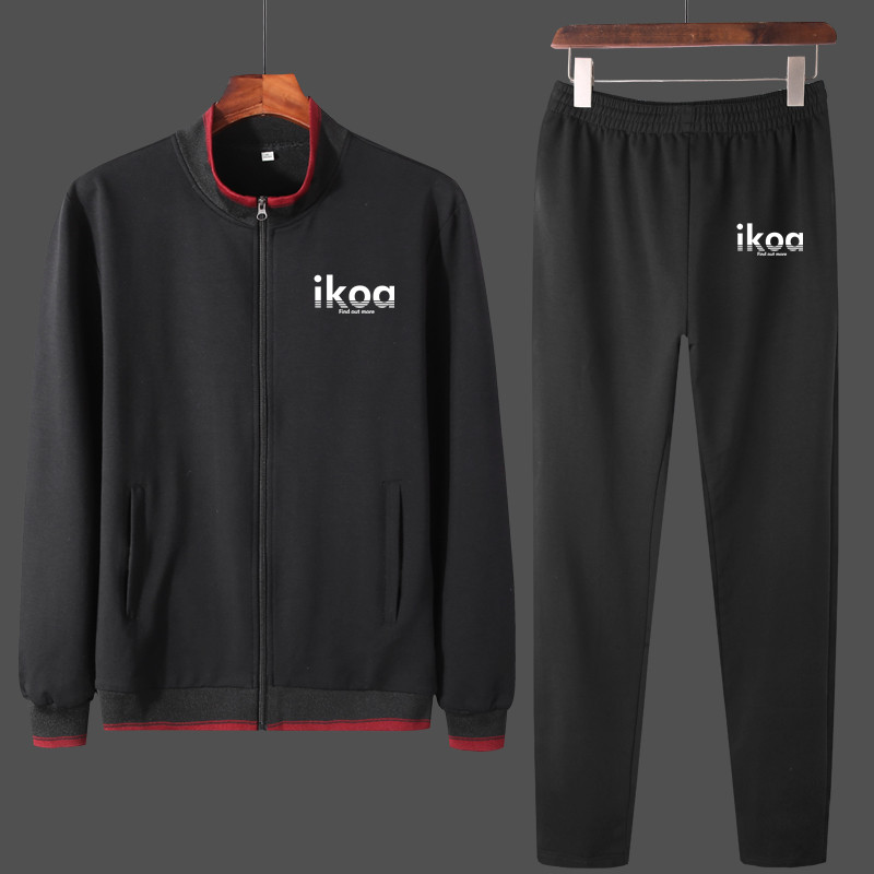 Men Tracksuit Cotton 2019 Sportswear Two Piece Sets hoodie Trousers High Street IKOA Printed Jackets Sets Clothing